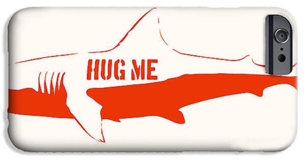 Stencil iPhone Cases - Hug Me Shark iPhone Case by Pixel Chimp