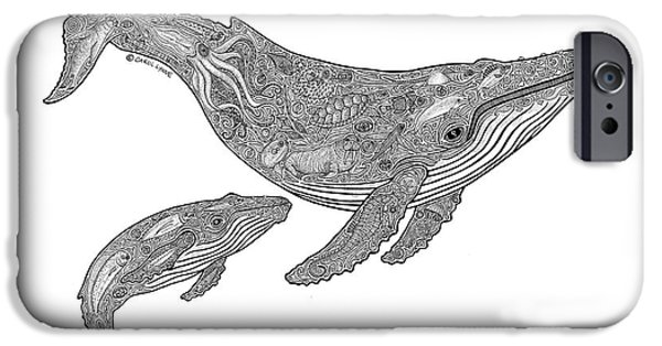 Nature Drawings iPhone Cases - Humpback and Calf iPhone Case by Carol Lynne