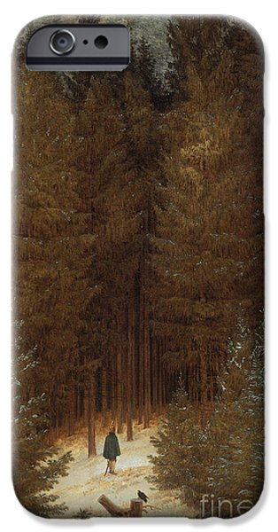 Opening iPhone Cases - Hunter in the Forest  iPhone Case by Caspar David Friedrich