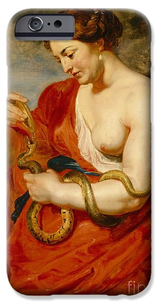 Serpent iPhone Cases - Hygeia - Goddess of Health iPhone Case by Peter Paul Rubens