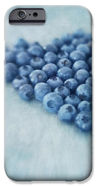 Life Digital Art iPhone Cases - I love blueberries iPhone Case by Priska Wettstein