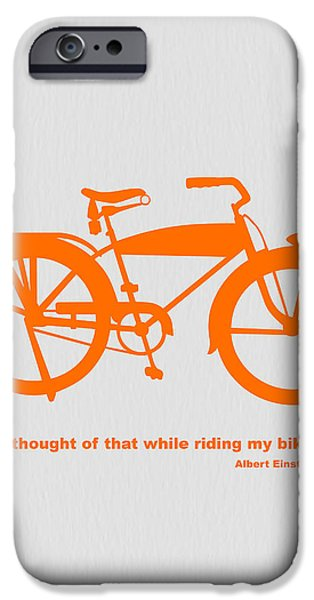 Kids Art iPhone Cases - I Thought Of That While Riding My Bike iPhone Case by Naxart Studio