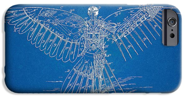 Steam Punk iPhone Cases - Icarus Human Flight Patent Artwork iPhone Case by Nikki Marie Smith