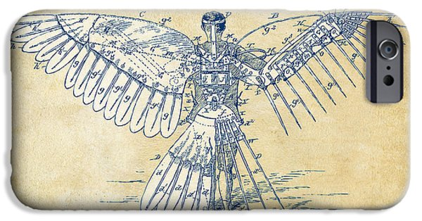 Feather Drawings iPhone Cases - Icarus Human Flight Patent Artwork - Vintage iPhone Case by Nikki Smith
