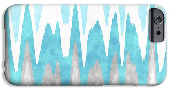 IPhone 6 Case featuring the mixed media Ice Blue Abstract by Christina Rollo