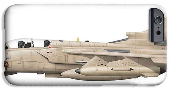 Electronic iPhone Cases - Illustration Of A Panavia Tornado Gr1 iPhone Case by Chris Sandham-Bailey