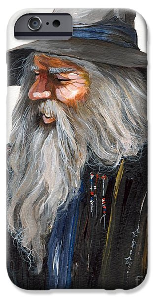 Acrylic iPhone Cases - Impressionist Wizard iPhone Case by J W Baker