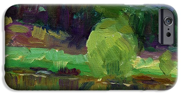 Waterscape Paintings iPhone Cases - Impressionistic Oil landscape lake painting iPhone Case by Svetlana Novikova