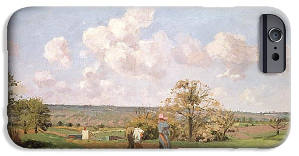 Camille Pissarro iPhone Cases - In the fields iPhone Case by Camille Pissarro