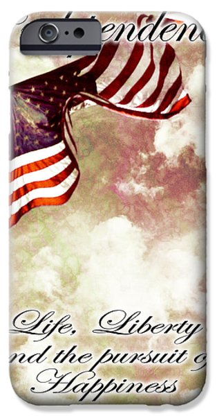 4th July Digital iPhone Cases - Independence Day USA iPhone Case by Phill Petrovic