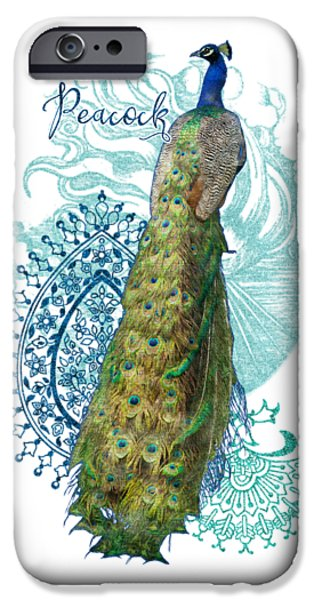 Peafowl iPhone Cases - Indian Peacock Henna Design Paisley Swirls iPhone Case by Audrey Jeanne Roberts