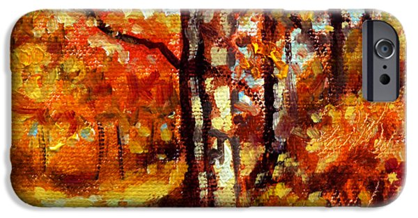 Fall Scenes Paintings iPhone Cases - Indian Summer detail thirteen iPhone Case by John Lautermilch