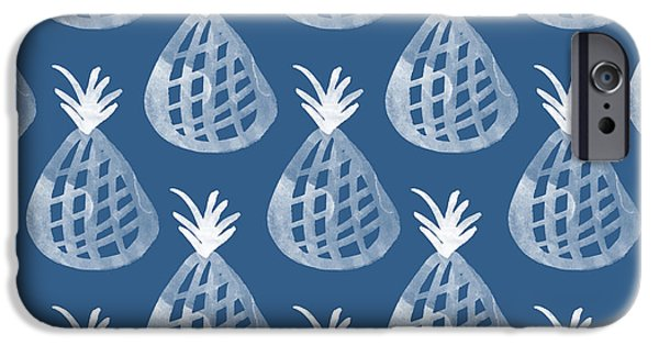 Blue iPhone 6 Case - Indigo Pineapple Party by Linda Woods