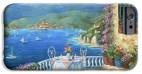 Wine Bottles Paintings iPhone Cases - Italian Lunch On The Terrace iPhone Case by Marilyn Dunlap