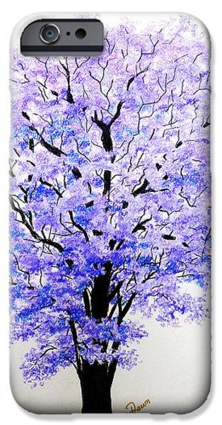 Botanical Pastels iPhone Cases - Jacaranda Time iPhone Case by Karin Kelshall- Best