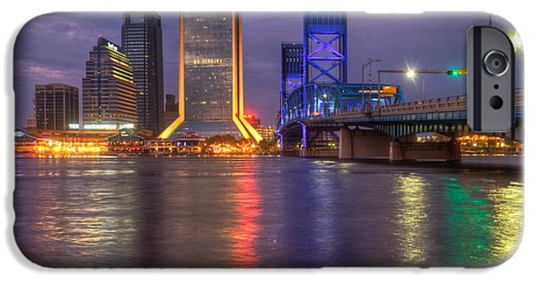 St. Johns River iPhone Cases - Jacksonville at Dusk iPhone Case by Debra and Dave Vanderlaan