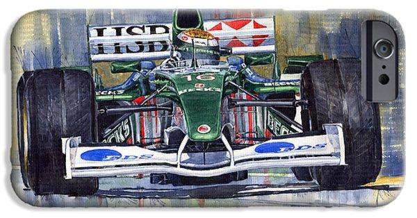 Racing iPhone Cases - Jaguar R3 Cosworth F1 2002 Eddie Irvine iPhone Case by Yuriy  Shevchuk