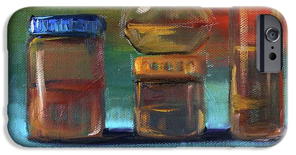IPhone 6 Case featuring the painting Jars Still Life Painting by Nancy Merkle