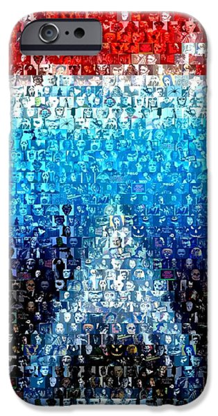 Fish Mixed Media iPhone Cases - JAWS horror mosaic iPhone Case by Paul Van Scott