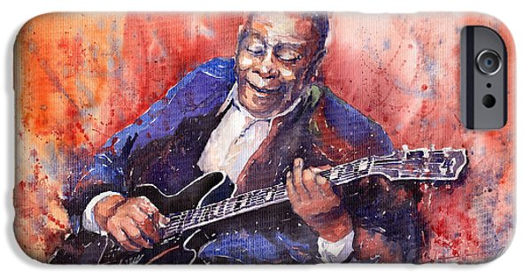 King iPhone Cases - Jazz B B King 06 a iPhone Case by Yuriy  Shevchuk