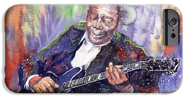 Watercolors Paintings iPhone Cases - Jazz B B King 06 iPhone Case by Yuriy  Shevchuk