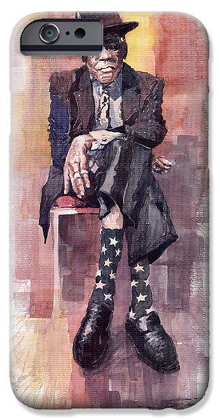 Portret iPhone Cases - Jazz Bluesman John Lee Hooker iPhone Case by Yuriy  Shevchuk