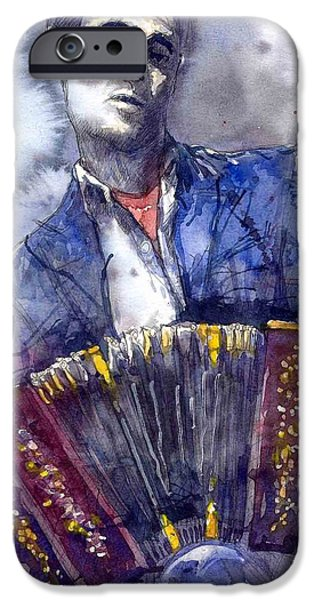 Jazz Paintings iPhone Cases - Jazz Concertina player iPhone Case by Yuriy  Shevchuk