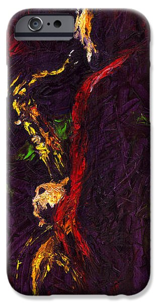 Figurativ iPhone Cases - Jazz Red Saxophonist iPhone Case by Yuriy  Shevchuk