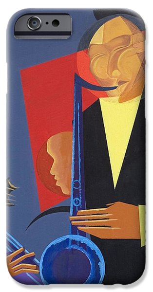 Abstract On Canvas Paintings iPhone Cases - Jazz Sharp iPhone Case by Kaaria Mucherera