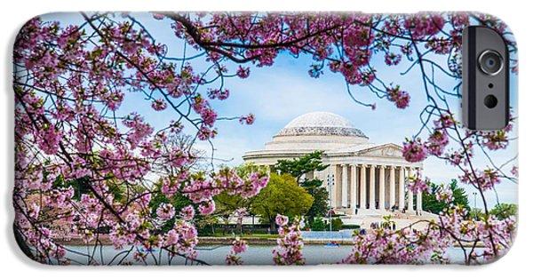 D.c. iPhone Cases - Jefferson Memorial Cherry Blossoms iPhone Case by Jim DeLillo