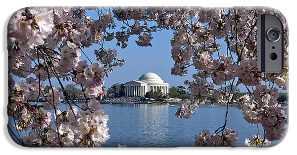 Cherry Blossoms Photographs iPhone Cases - Jefferson Memorial on the Tidal Basin DS051 iPhone Case by Gerry Gantt