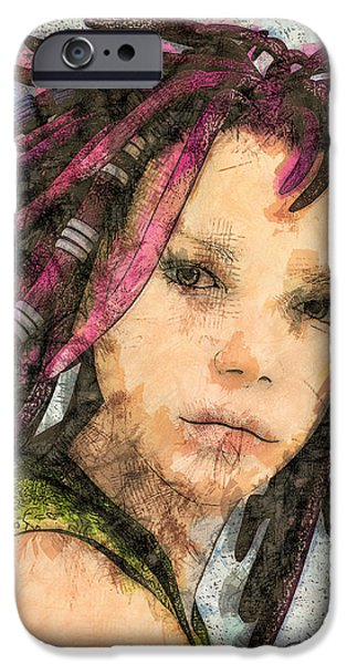 3d Graphic iPhone Cases - Jehanne iPhone Case by Jutta Maria Pusl