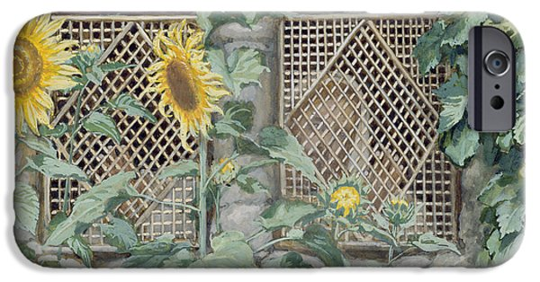 Jesus Face iPhone Cases - Jesus Looking through a Lattice with Sunflowers iPhone Case by Tissot