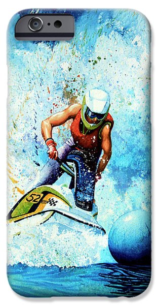 Skiing Art iPhone Cases - Jet Blue iPhone Case by Hanne Lore Koehler