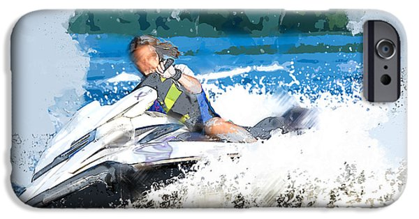 Jet Ski iPhone 6 Case - Jet Skiing In The Lake by Elaine Plesser