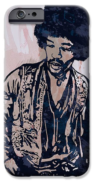 Johnny Allen Hendrix iPhone Cases - Jimi Hendrix Pop Stylised Art Sketch Poster iPhone Case by Kim Wang