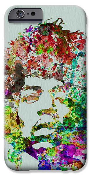 Portrait Paintings iPhone Cases - Jimmy Hendrix watercolor iPhone Case by Naxart Studio