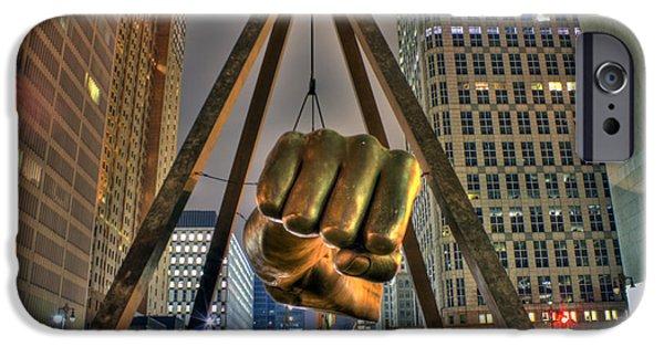 Renaissance Center iPhone Cases - Joe Louis Fist Detroit MI iPhone Case by Nicholas  Grunas
