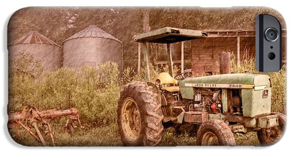 Old Barn Poster Photographs iPhone Cases - John Deere Antique iPhone Case by Debra and Dave Vanderlaan