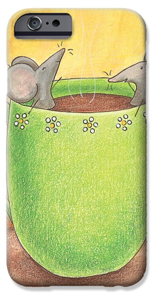 Wall Drawings iPhone Cases - Join Me in a Cup of Coffee iPhone Case by Christy Beckwith