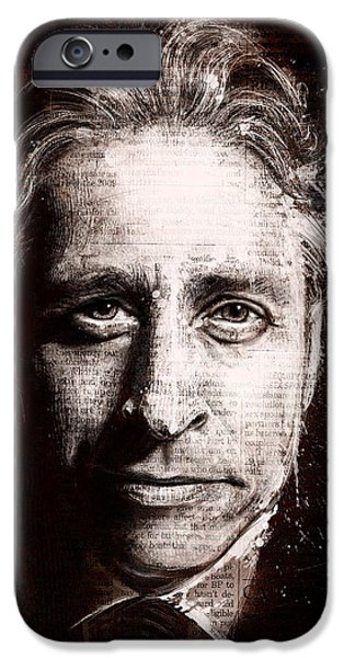 Politics iPhone Cases - Jon Stewart iPhone Case by Fay Helfer