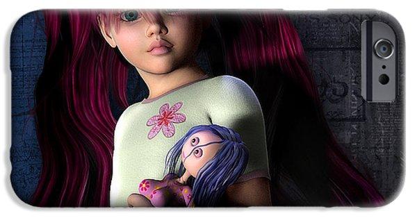 Gray Hair Digital iPhone Cases - Josi Girl iPhone Case by Jutta Maria Pusl