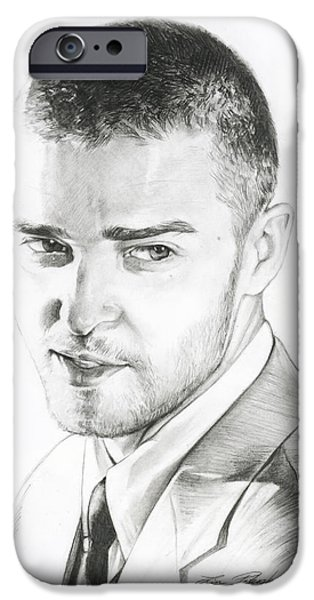 Justin Timberlake iPhone Cases - Justin Timberlake Drawing iPhone Case by Lin Petershagen