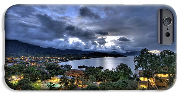 Hawaii iPhone Cases - Kaneohe Bay Night HDR iPhone Case by Dan McManus