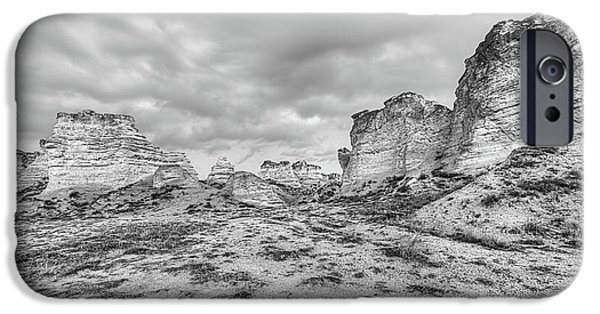 IPhone 6 Case featuring the photograph Kansas Badlands Black And White by JC Findley