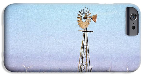 IPhone 6 Case featuring the digital art Kansas Windmills by JC Findley