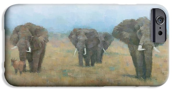 Impressionistic Landscape Paintings iPhone Cases - Kenyan Elephants iPhone Case by Steve Mitchell