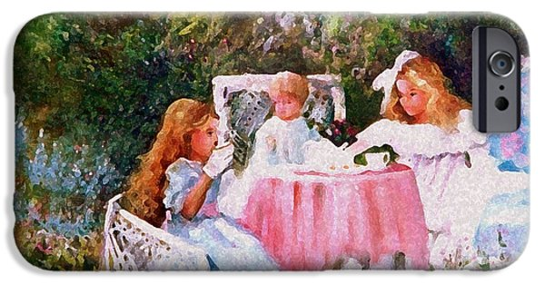 Tea Party iPhone Cases - Kimbers Tea Party iPhone Case by Sally Seago