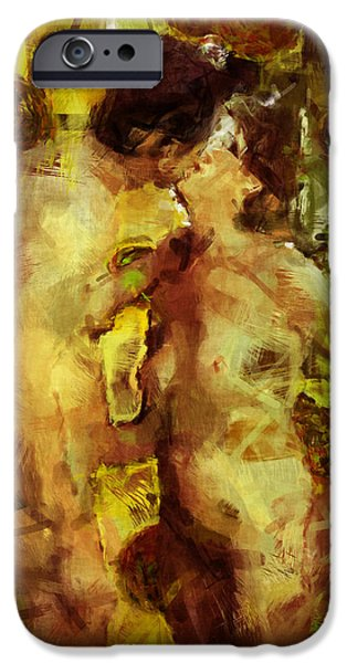 Nude Couple iPhone Cases - Kiss Me iPhone Case by Kurt Van Wagner