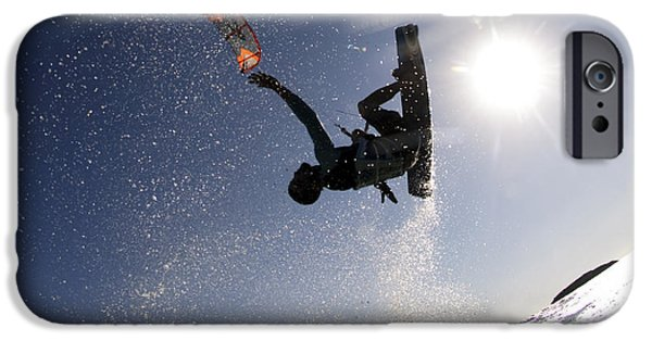 Kite Surfing iPhone Cases - Kitesurfing in the Mediterranean Sea  iPhone Case by Hagai Nativ